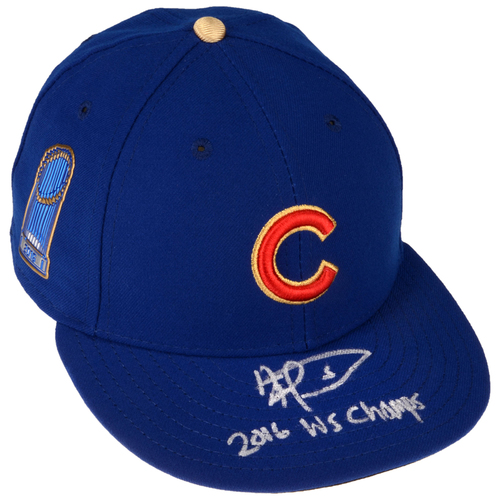 Photo of Albert Almora Jr. Chicago Cubs Autographed New Era Gold Cap with 16 WS Champs Inscription