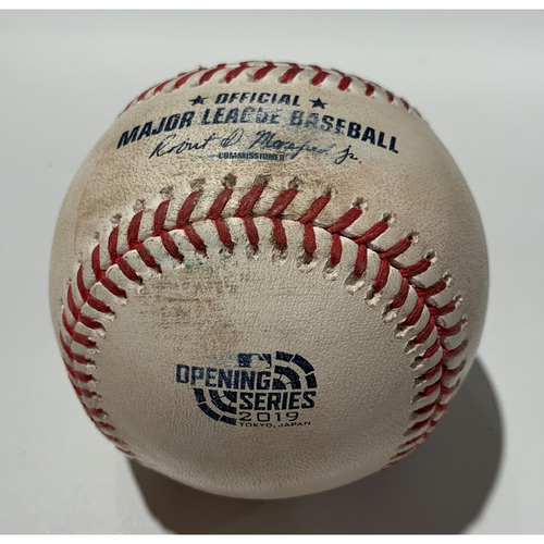 Photo of 2019 Japan Opening Day Series - Game Used Baseball - Batter: Stephen Piscotty Pitcher : Matthew Festa - Single to CF - 3/21/19