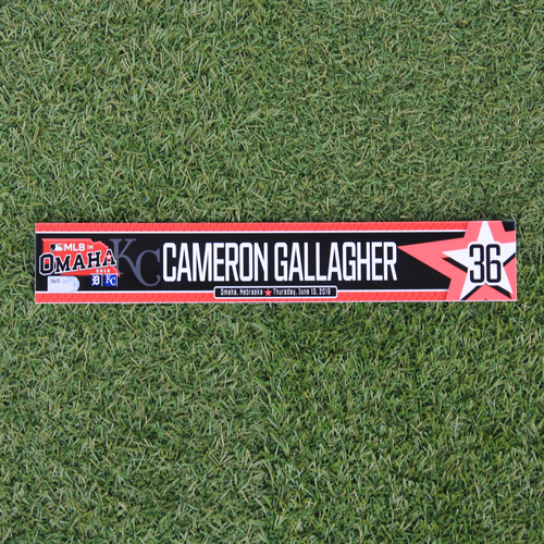 Photo of Game-Used Locker Tag: MLB in Omaha - Cam Gallagher (DET @ KC - 6/13/19)