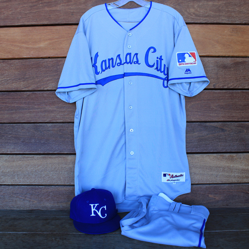 Photo of Game-Used 1969 Throwback Jersey, Pants and Cap: Jorge Lopez (Jersey Size 46 - KC @ WSH  - 7/6/19)