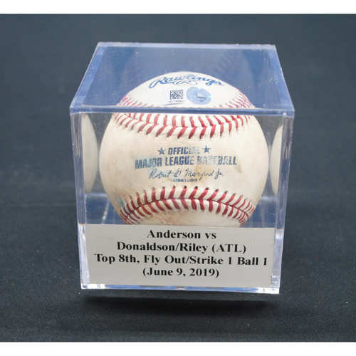 Photo of Game-Used Baseball: Nick Anderson vs Josh Donaldson/Austin Riley (ATL), Top 8th, Fly Out/Strike - June 9, 2019