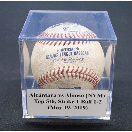 Photo of Game-Used Baseball: Sandy Alcántara vs Pete Alonso (NYM), Top 5th, Strike 1, Balls 1-2 - May 19, 2019