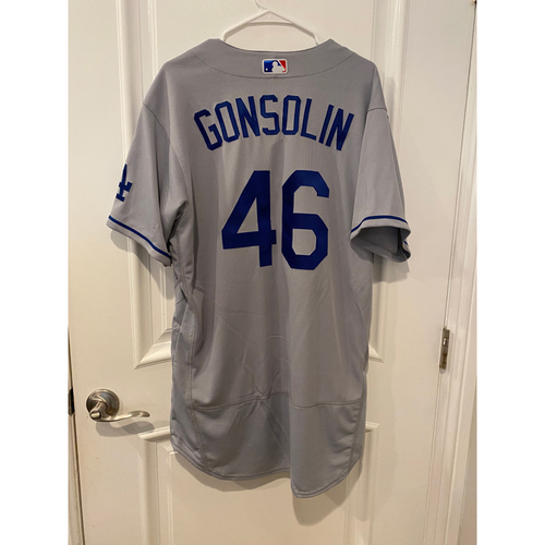 Photo of Tony Gonsolin Authentic Game-Used Jersey from 8/16/20 Game vs LAA - Size  46