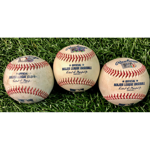 Photo of Game Used Baseball Package: Joey Wendle, Yoshitomo Tsutsugo & Austin Meadows - First 7-Inning DH at Tropicana Field - August 8-9, 2020 v NYY