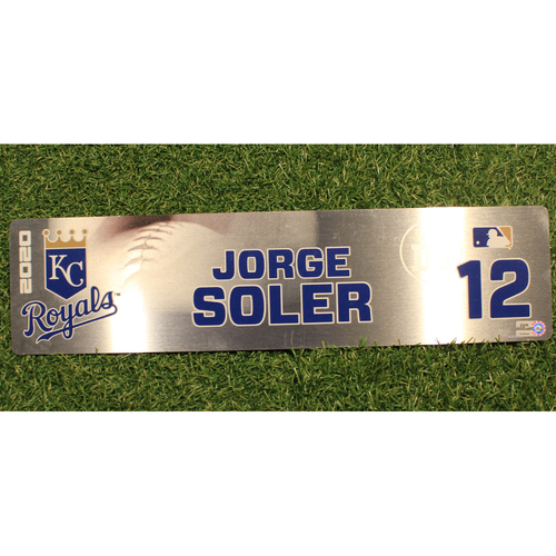 Photo of Game-Used Locker Tag: Jorge Soler #12 (DET @ KC 9/24/20)