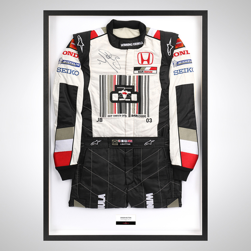 Photo of Jenson Button 2005 Bar Code Race-worn Race Suit