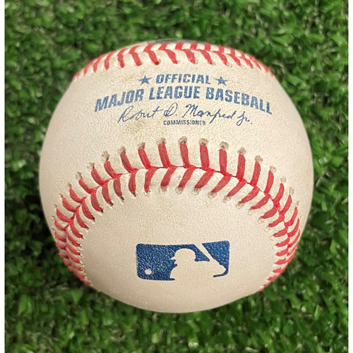 Photo of Game Used Baseball - Pitcher: Aaron Ashby, Batter: Austin Riley (4 balls) and Adam Duvall (2 Strikes, Hit By Pitch) - 10/12/21 NLDS Game 4, Braves Win NLDS