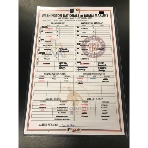 Game-Used Lineup Card: Marlins vs Nationals 9/6/17 (Roberto Clemente Day)