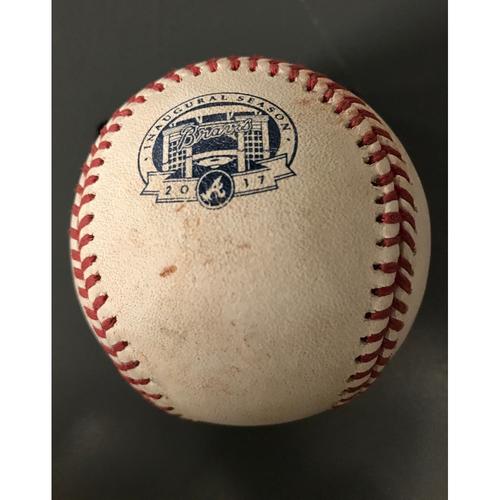 Photo of Johan Camargo Game-Used Hit Double Baseball - 7/15/17