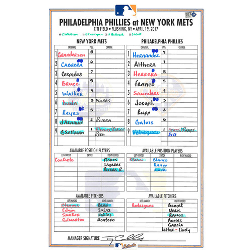Photo of Game Used Lineup Card - Jay Bruce Hits 2 HR and 5 RBI - Mets vs. Phillies - 4/19/17