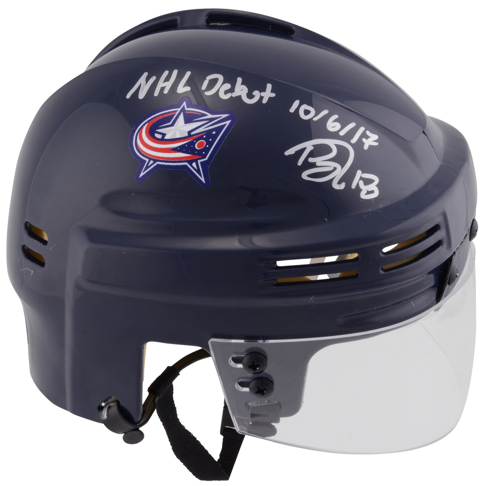 Pierre-Luc Dubois Autographed Mini Helmet with NHL Debut 10/6/17 Inscription