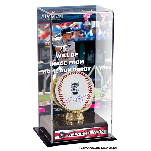 Photo of Alex Bregman Houston Astros Autographed 2018 MLB Home Run Derby Baseball and Home Run Derby Sublimated Display Case with Image - PRESALE