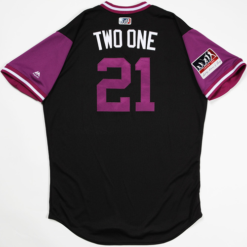 "Photo of Kyle ""Two One"" Freeland  Colorado Rockies Game-Used 2018 Players' Weekend Jersey"