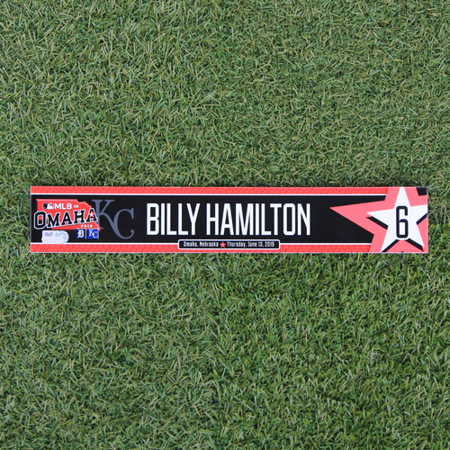 Photo of Game-Used Locker Tag: MLB in Omaha - Billy Hamilton (DET @ KC - 6/13/19)