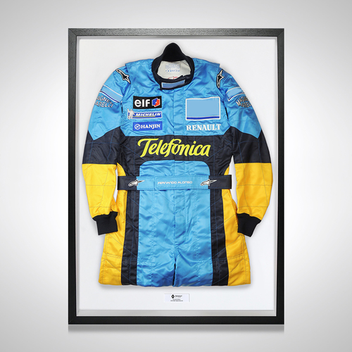 Photo of Fernando Alonso 2004 Framed Replica Race Suit - Renault F1 Team