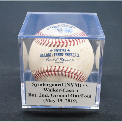 Photo of Game-Used Baseball: Noah Syndergaard (NYM) vs Neil Walker/Starlin Castro, Bot. 2nd, Ground Out/Foul - May 19, 2019