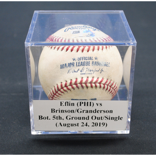 Photo of Game-Used Baseball: Zach Eflin (PHI) vs Lewis Brinson/Curtis Granderson, Bot. 5th, Ground Out/Single - August 24, 2019