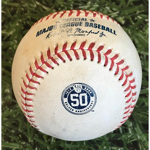 Photo of Game-Used Baseball MIN@MIL 08/12/20 - Kenta Maeda - Christian Yelich: Single
