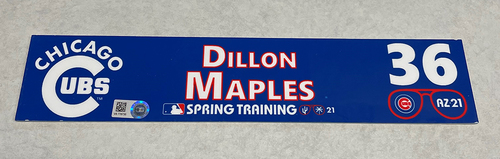 Photo of Dillon Maples 2021 Spring Training Locker Nameplate