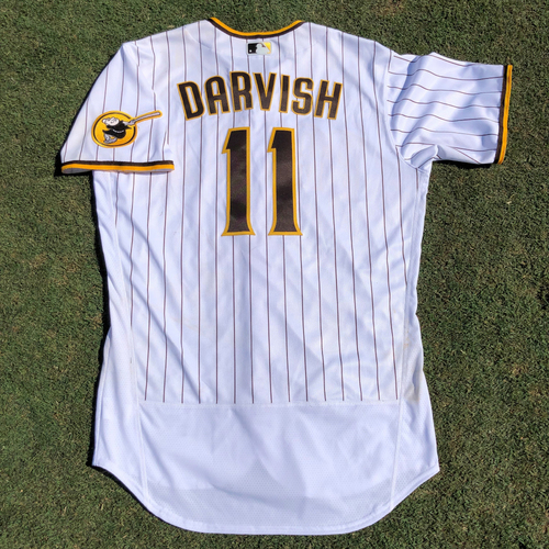 Photo of LAD @ SD Yu Darvish Game Used Jersey. 6 IP, 5 Hits, 4 ER, 1 BB and 6 Strikeouts vs Max Scherzer - 8/26 vs. LAD