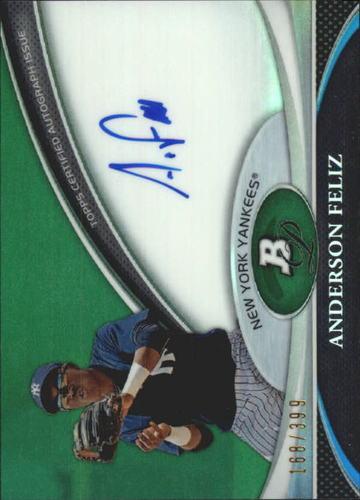 Photo of 2011 Bowman Platinum Prospect Autograph Green Refractors #AF Anderson Feliz