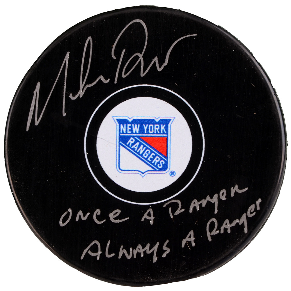 Mike Richter New York Rangers Autographed Hockey Puck with Once A Ranger, Always A Ranger Inscription