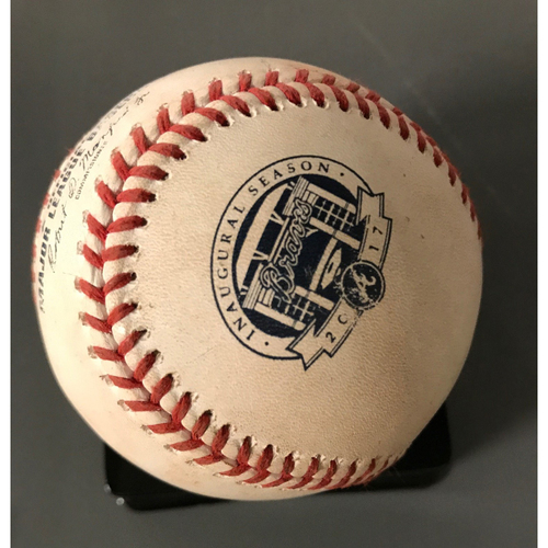 Photo of Tyler Flowers Game-Used Hit Single Baseball - 9/8/17