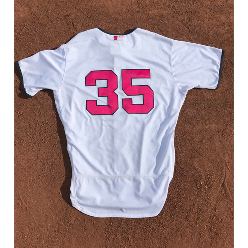 Photo of San Francisco Giants - 2017 Game-Used Jersey - #35 Brandon Crawford - Mother's Day (Pink/White) - Worn 5/13 & 5/14 - Jersey Size 48