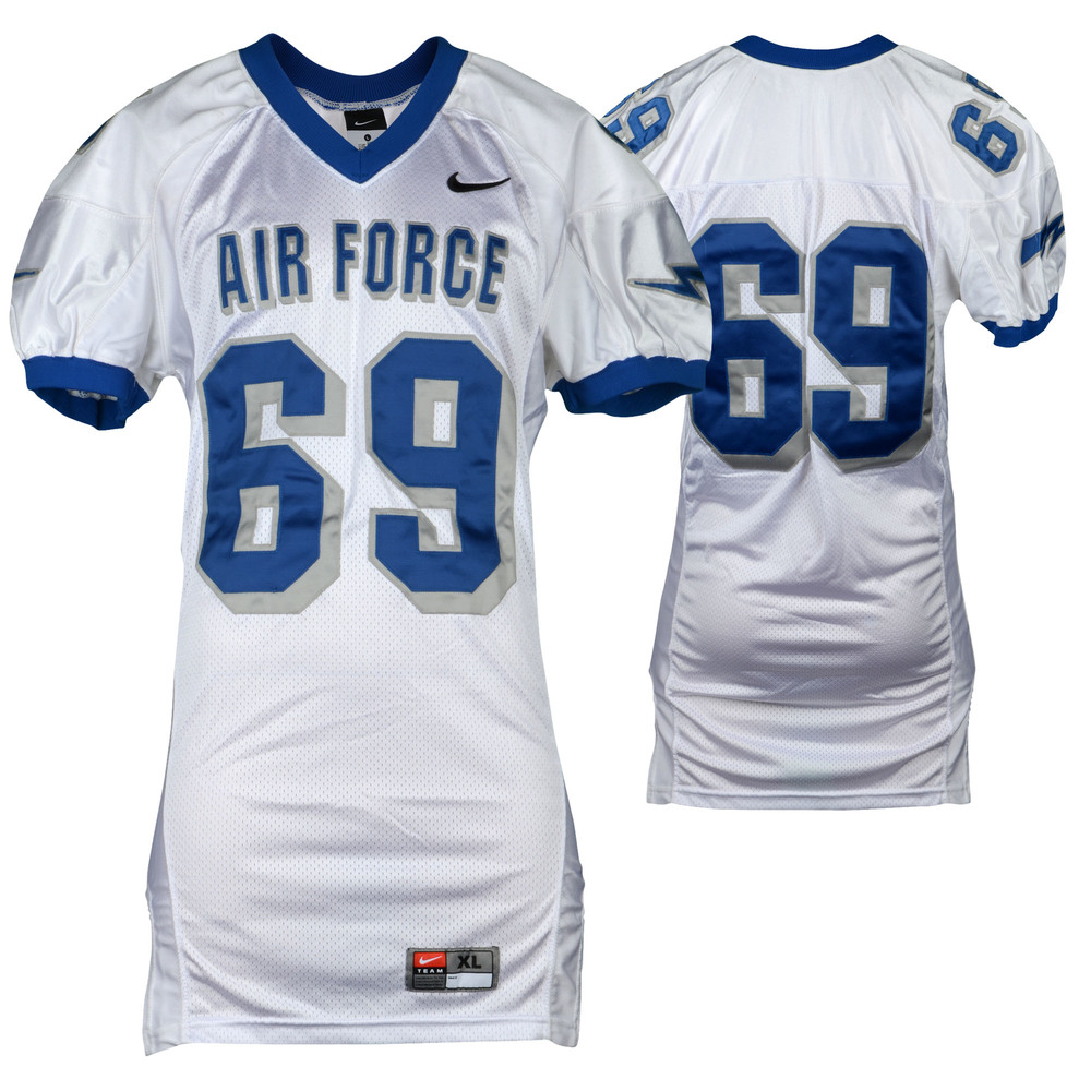 Air Force Falcons Game-Used #69 White Football Jersey from the 2002-06 Seasons - Size - XL