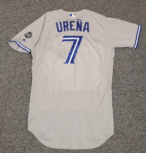 Photo of Authenticated Game Used Jersey - #7 Richard Urena (Aug 15, 18: 1-for-3 with 1 Double and 1 Walk). Size 44.