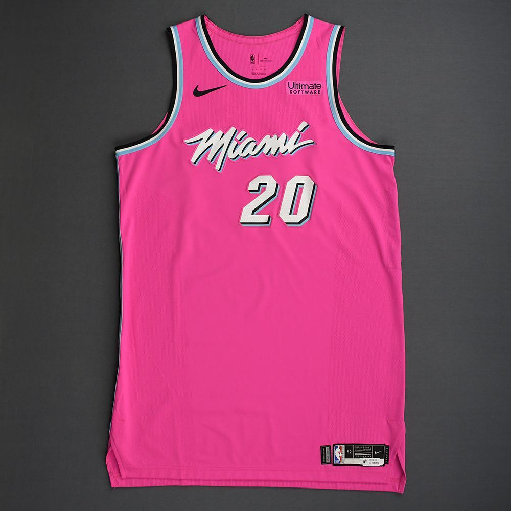 Justise Winslow - Miami Heat - 2018-19 Season - Game-Worn Pink Earned Edition Jersey
