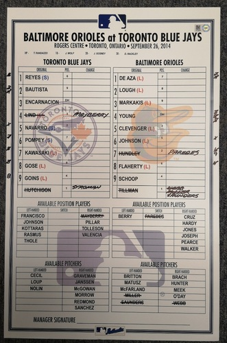 Photo of Authenticated Game Used Lineup Card - September 26, 2014 vs BAL: Marcus Stroman recorded his 1st MLB Save