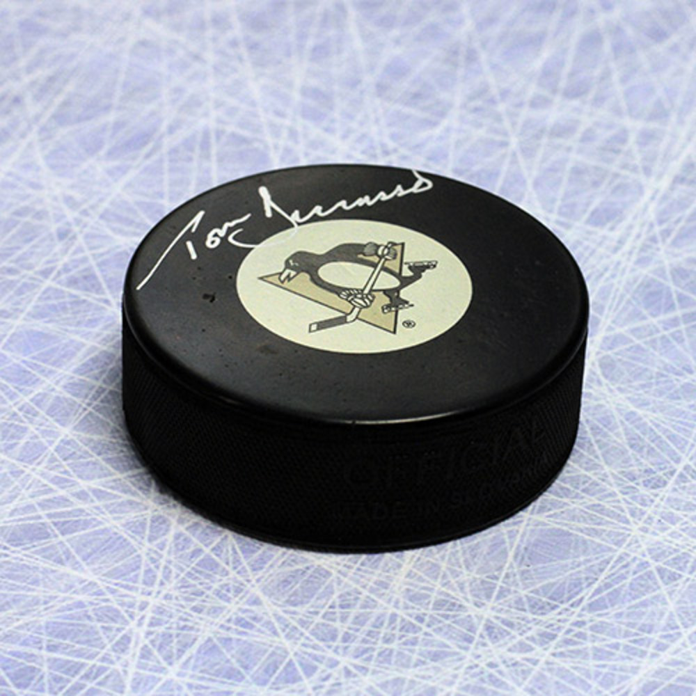 Tom Barrasso Pittsburgh Penguins Autographed Hockey Puck