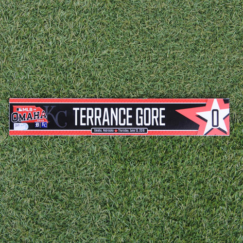 Photo of Game-Used Locker Tag: MLB in Omaha - Terrance Gore (DET @ KC - 6/13/19)