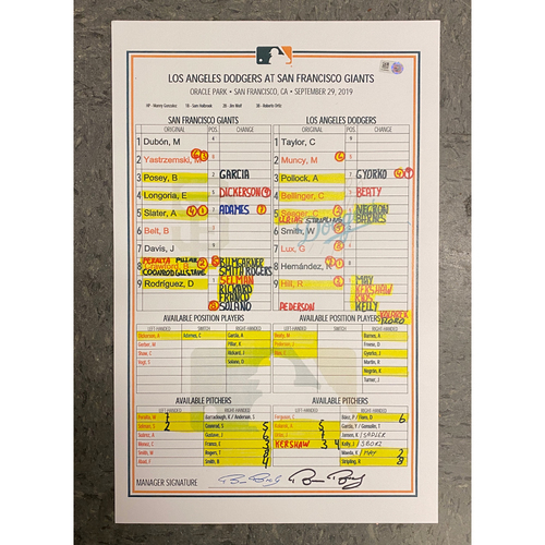 Photo of Autographed Replica Lineup Card signed by #15 Bruce Bochy - Replica Lineup Card from Bruce Bochy's Final Game - 9/29 vs. Los Angeles Dodgers