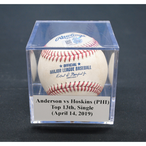 Photo of Game-Used Baseball: Nick Anderson vs Rhys Hoskins (PHI), Top 13th, Single - April 14, 2019