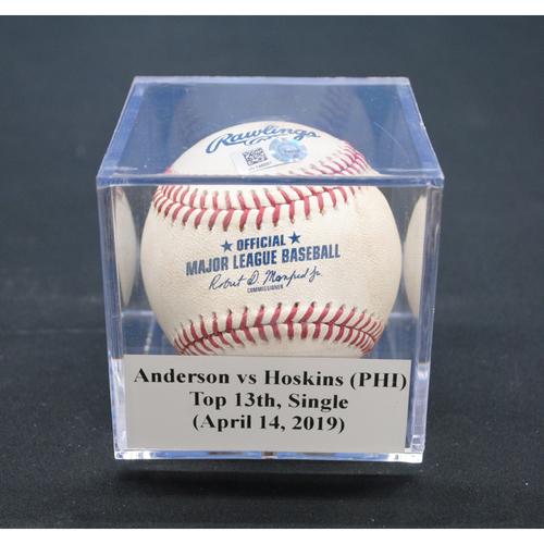 Game-Used Baseball: Nick Anderson vs Rhys Hoskins (PHI), Top 13th, Single - April 14, 2019