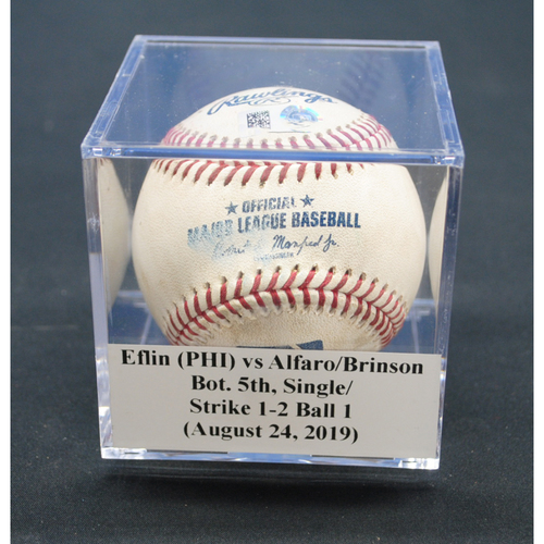 Photo of Game-Used Baseball: Zach Eflin (PHI) vs Jorge Alfaro/Lewis Brinson, Bot. 5th, Single/Strike - August 24, 2019