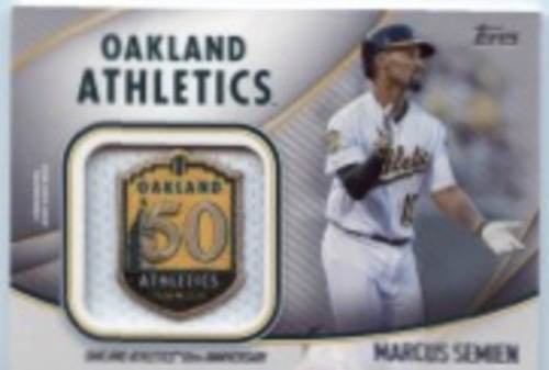 Photo of 2020 Topps Jumbo Special Event Jersey Sleeve Patches #JSESMS Marcus Semien
