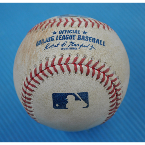 Photo of Game-Used Baseball - 2020 ALCS - Tampa Bay Rays vs. Houston Astros - Game 4 - Pitcher: Zack Greinke, Batter: Austin Meadows (Single to RF) - Top 6