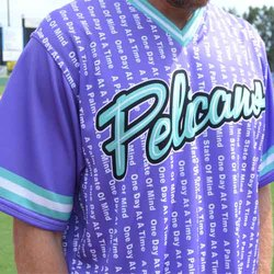Photo of MYRTLE BEACH PELICANS RECOVERY AWARENESS JERSEY #17-SIZE 48