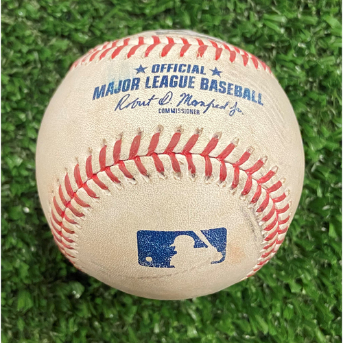 Photo of Game Used Baseball - Pitcher: Eric Lauer, Batter: Joc Pederson (2 Strikes, Ball, Foul) - 10/12/21- NLDS Game 4, Braves Win NLDS