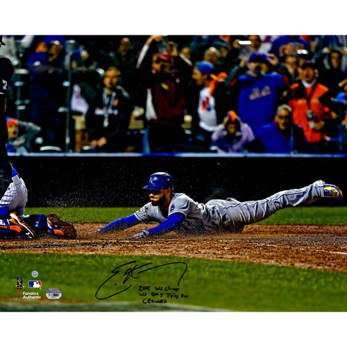 "Photo of  Eric Hosmer Kansas City Royals 2015 MLB World Series Champions Autographed 16"" x 20"" World Series Game 5 Tying Run Photo with Multiple Inscriptions - #1 of L.E. of 35"