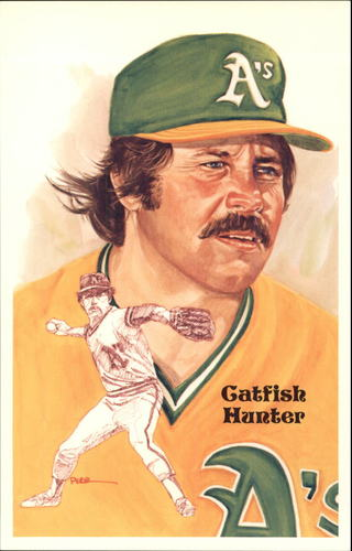 Photo of 1980-02 Perez-Steele Hall of Fame Postcards #198 Catfish Hunter -- HOF Class of 1987