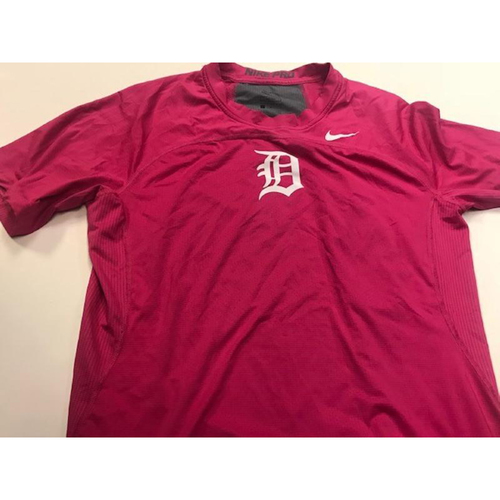 Photo of 2017 Team-Issued Detroit Tigers #17 Pink Nike Dri-Fit Shirt