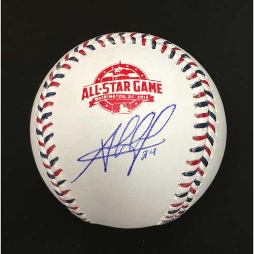 Photo of Jesus Aguilar Autographed 2018 All-Star Game Baseball