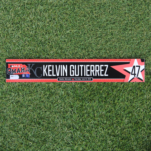 Photo of Game-Used Locker Tag: MLB in Omaha - Kelvin Gutierrez (DET @ KC - 6/13/19)