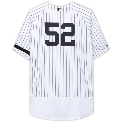 Photo of CC Sabathia New York Yankees Game-Used #52 White Pinstripe Jersey (Worn Innings 1-3) vs. Cleveland Indians on August 18, 2019