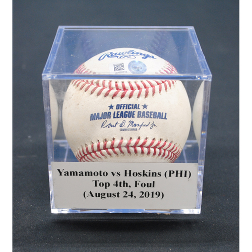 Game-Used Baseball: Jordan Yamamoto vs Rhys Hoskins (PHI), Top 4th, Foul - August 24, 2019