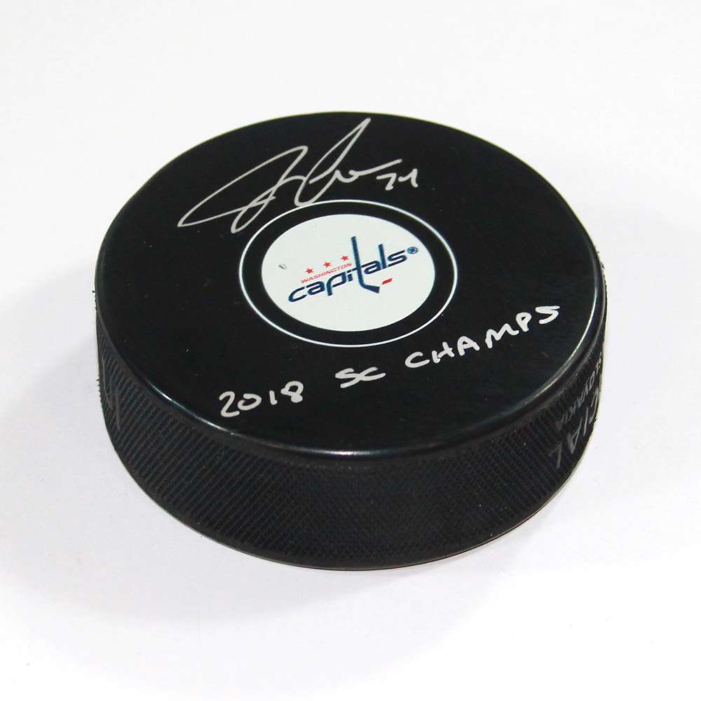John Carlson Washington Capitals Autographed Hockey Puck with 2018 Champs Note